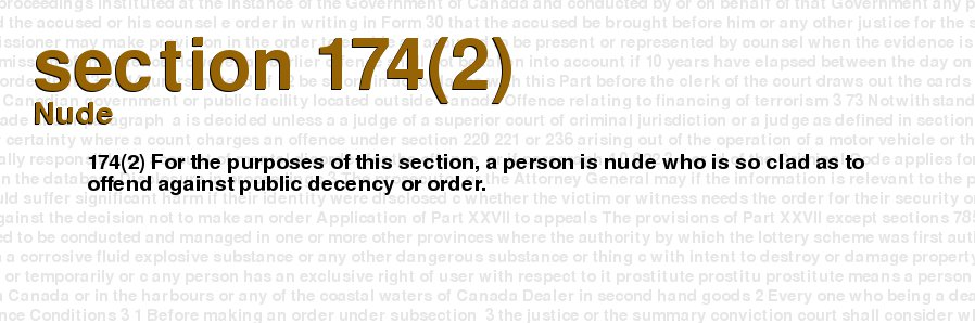 Canadian criminal code nudist