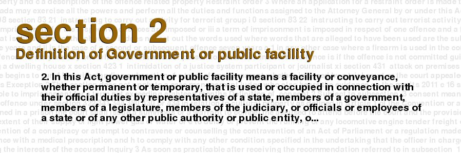 Criminal Code Of Canada   Section 2   Definition Of Government Or Public  Facility