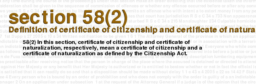 Criminal Code of Canada - section 58(2) - Definition of certificate ...